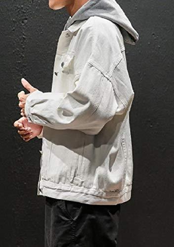 Bianca Casual Rkbaoye Giù Uomini size Retrò Plus Giacca Jeans Autunno Tasto Giapponese 8R0w8FPxq