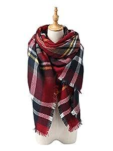 Spring fever Tartan Blanket Scarf Wrap Shawl Neck Stole Plaid Checked Pashmina A03