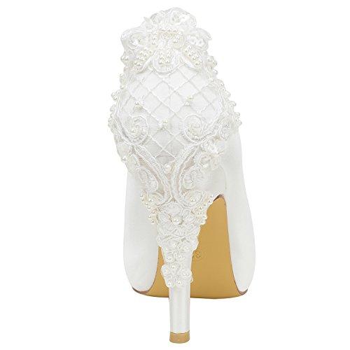 Dettaglio Ivory Shoes Peep Slip in On Sposa Pompe Seta Alto Bridal Tacco Avorio Emily Toe da Fw5EqRPqn