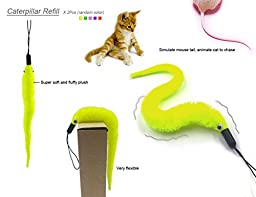 YOGADOG Interactive Feather Teaser wand Cat Toy, Retractable Wand with bell, 5pcs Refills