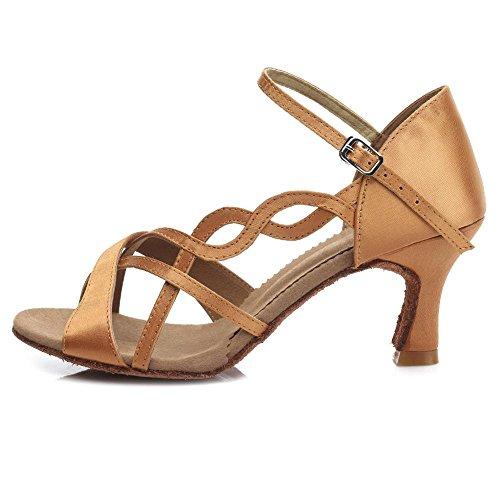 YFF In Satin Frauen professionelle Ballroom Dance Schuh Girls Latin Dance Schuhe 3 Farben Brown 7CM