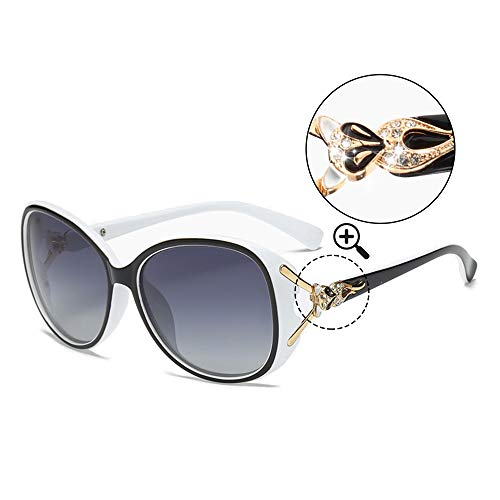(Classic Polarized Oversized Sunglasses for Women HD Lens UV Protection shades Fashion Retro Goggle Designer Eyewear (White Frame/Shades Grey Oversized Polarized Sunglasses))