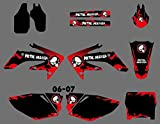 5 Style Motorcycle Team Graphic Background Stickers Decals Kit for Honda CRF250R CRF250 CRF 250R 250 R 250 2006 2007