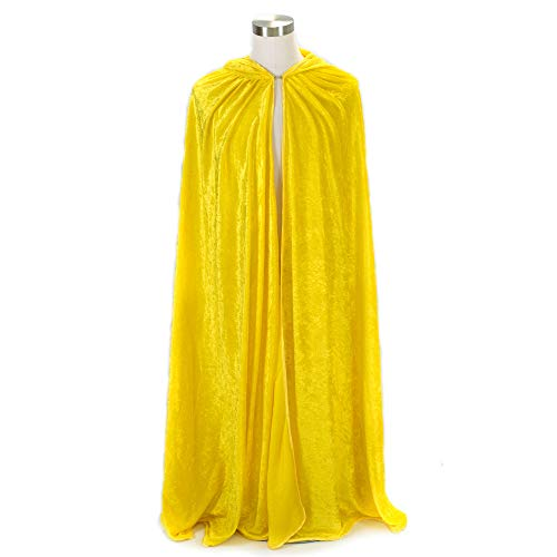 Everfan Yellow Hooded Cape | Cloak with Hood for Halloween, Cosplay, Costume, Dress Up -