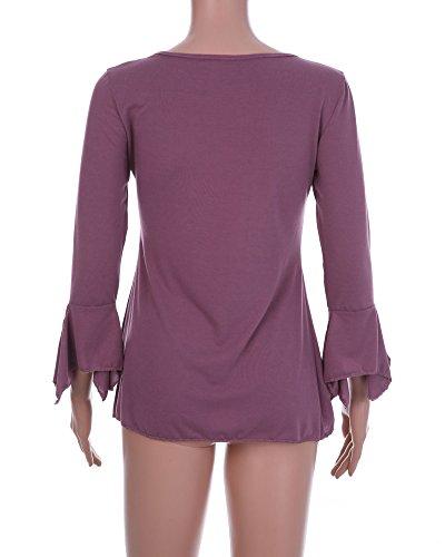 Elgante Col Unie Tunique 3 Couleur Blouse Pliss Shirts Volants Femme V 4 Dentelle Minetom Chemise Casual Violet Tops Avec Manches t qEngHxt