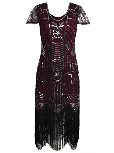 Vijiv 1920s Vintage Inspired Sequin Embellished Fringe Long Gatsby Flapper Dress, Red, X Large