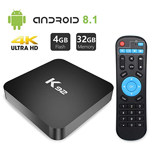 Android 8.1 TV Box, YAGALA K92 Android Smart Box with Amlogic S905X2 4GB DDR4 32GB eMMC Dual WiFi 2.4G/5.0G 1000M LAN Ethernet BT4.1