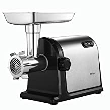 Home and Business RS-JR80A Electric Meat Grinder & Sausage Stuffer 800 Watts 2 Grinding Plates & 1 Stainless Blades & 1 Sausage Stuffer & Kubbe Attachment (Color : Silver)