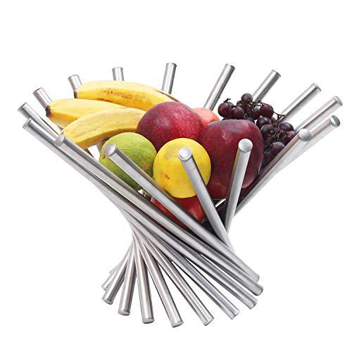 Frutero - Creativo Frutero plegable de acero inoxidable - Moderno antioxidante giratoria Cesta de frutas como decoracion para la cocina y mesa de comedor