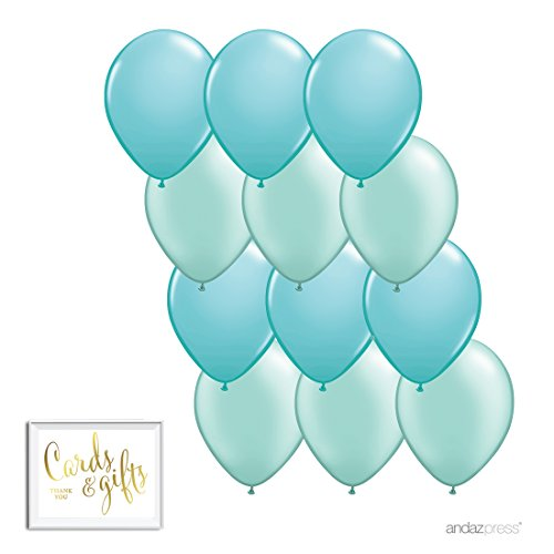 Andaz Press 11-inch Latex Balloon Duo Party Kit with Gold Cards & Gifts Sign, Diamond Blue and Mint Green, 12-pk, Lil Man Mustache Boy 1st Birthday Decorations