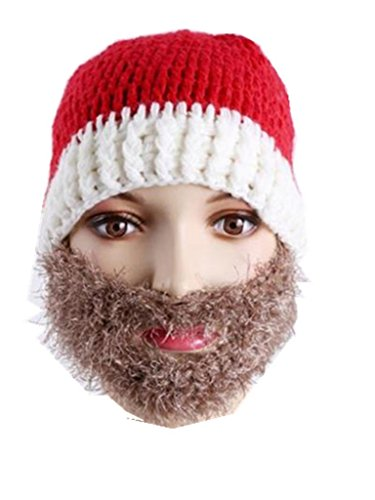 [UNKE Xmas Gift Christmas Knitted Hat Santa Claus' Cap with Mustache-Knit Beard Hat] (Unique Santa Costumes)
