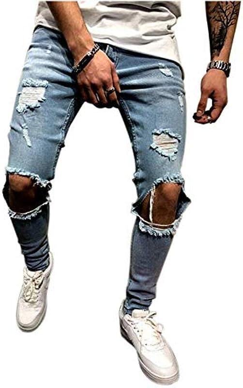 Haodasi cienkie dżinsy męskie, niszczą jeansy, spodnie jeansowe, spodnie jeansowe, spodnie na kolana, otwarte pęknięcia: Odzież