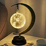 Led Bedside Table Lamp Handmade Hemp Rope Wrought Iron Night Light Desk Sleep Nightlight Home Decor (Warm Light-Ball)