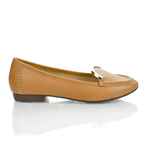 (Sully's Vedys1 Camel Almond Toe Metal Plated Collar Slip On Low Heel Loafers-6.5)