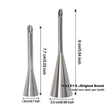 Fiesta - 2 boquillas de acero inoxidable para repostería, herramienta de inyección, puntas de glaseado ruso, jeringa para puff: WALFOS 2 piezas: Amazon.es: ...