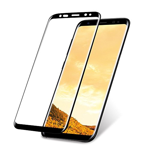 Galaxy S8 Screen Protector, ALCLAP Galaxy S8 Tempered Glass Full Coverage Ultra HD Clear Film Anti-Bubble Lifetime Replacement Screen Cover Compatible Samsung Galaxy S8 - Black