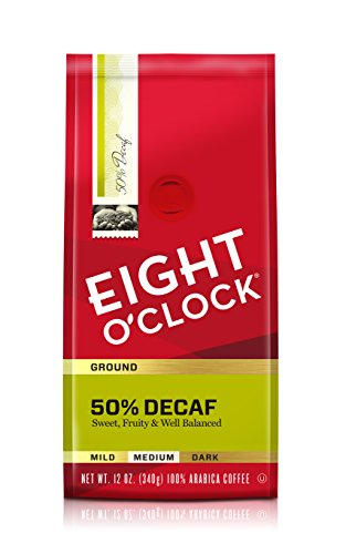 Eight O'Clock Ground Coffee, 50% Decaf, 12 Ounce (Pack of 6)