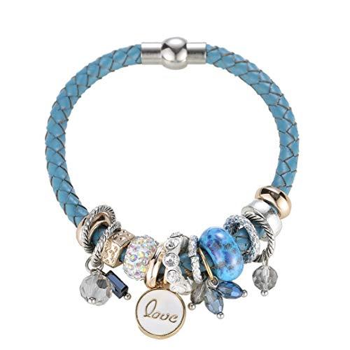 Hattfart Bracelet Women, Pearl Rhinestones Bracelets Risers Crystal Acrylic Layer Love Bead Cuff Bangle (Blue)