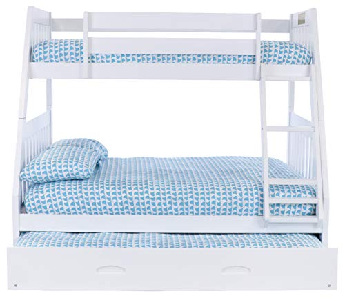 Discovery World Furniture Twin Over Full Bunk Bed with Trundle, 5 Drawer Chest in White Finish