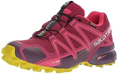 Salomon Women's SpeedCross 4 Gore-Tex Trail Running Shoes, Beet Red/Potent Purple/Citronelle, 6.5 US