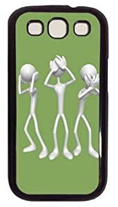 3D Silver People PC Case Cover For Samsung Galaxy S3 SIII I9300 Black
