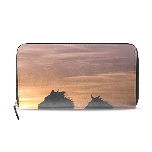 Womens Wallets Beach Sunset Yellow Animal Shadow Leather Passport Wallet Coin Purse Girls Handbags