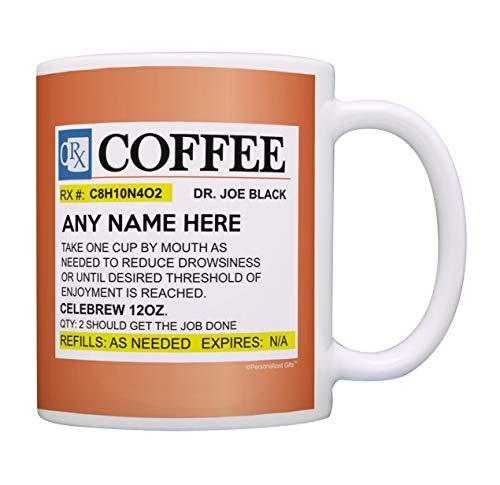 Prescription Coffee Mug Funny Personalized with Any Name Nurse Gifts Medical Doctor Gift Coffee Mug Tea Cup Orange