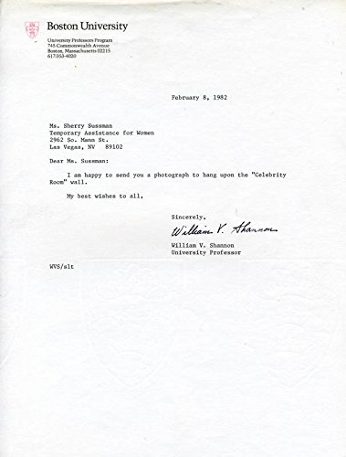 William V. Shannon Typed Letter Signed 02/08/1982