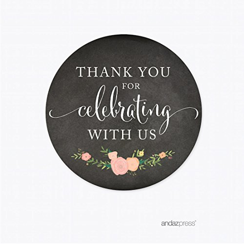 Andaz Press Chalkboard Floral Party Wedding Collection, Round Circle Label Stickers, Thank You for Celebrating With Us, 40-Pack, Baby Bridal Shower Birthday Baptism Anniversary Decor Decorations