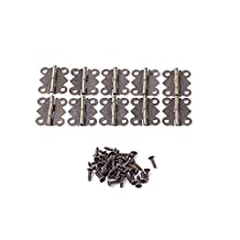 EDCarrying 10 pcs/bag Antique Copper Door Hinges with Screws Small Brass Folding Hinges for Cabinet Wooden Box Door Jewelry Box JL-123 (Bronze)