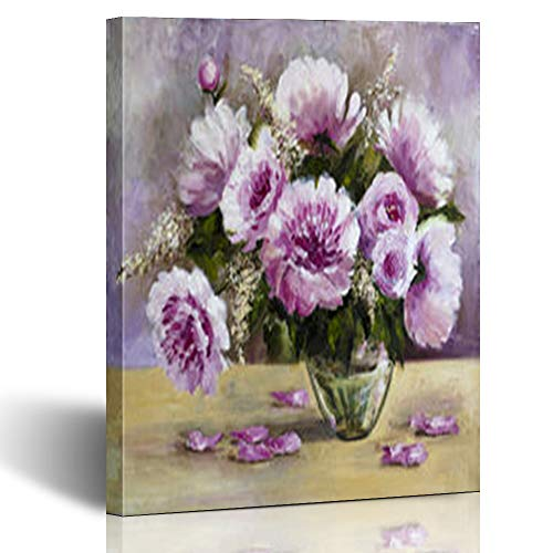Armko Canvas Wall Art Prints Oil Paints On Canvas Bouquet Art Peonies in Glass Vase Flower Bright 12 x 12 Inches Wooden Framed Painting Home Decor Bedroom Office