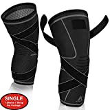Knee Brace Compression Sleeve with Strap for Best Support & Pain Relief for Meniscus Tear, Arthritis, Running, Basketball, MCL, Crossfit, Jogging and Recovery for Men & Women (Black, Large)