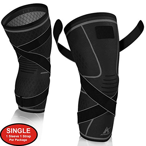 Knee Brace Compression Sleeve with Strap for Best Support & Pain Relief for Meniscus Tear, Arthritis, Running, Basketball, MCL, Crossfit, Jogging and Recovery for Men & Women (Black, Small)