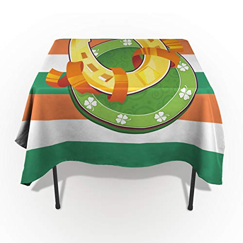 Rectangle Polyester Tablecloth, Ireland Flag Stripe Pattern and Gold Coin Magnet Tablecloths Machine Washable Table Cover Decorative Table Cloth for Kitchen Dinning Banquet Parties 60 x 140 Inch ()