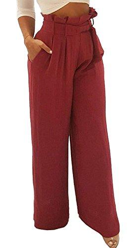 Primaverile Stile Pants Inclusa Modern Pantaloni Di Casual Cintura Lunga Pantaloni Baggy Larga Trousers Eleganti High Con Mare Gamba Winered Waist Pantaloni Estivi Stoffa Damigella Tasche Donna Dritti Larghi 5xwFnz4