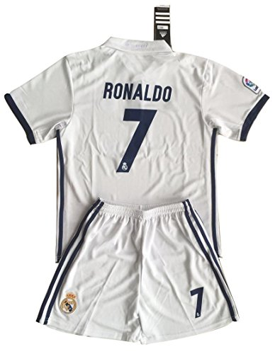 Ronaldo #7 Real Madrid Youths/Kids Home Soccer Jersey & Shorts (11-13 Years Old)