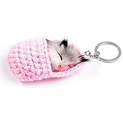 Llavero Creativo Mujer Nuevo Otoño Invierno Dormir Gatito Bola de Pelo Llavero Colgante Dormir Gato Muñeca Bolsa Colgante Rosa Dormir Pequeño Animal