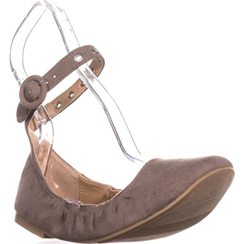 Material Ankle Flats Francy Girl Ballet Closed Taupe Toe Fabric Strap Womens r1rpqwxC4