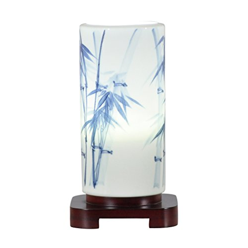 HUACANG Chinese-style LED hand-painted blue and white porcelain table lamp, modern fashion wooden bedroom bedside living room art desk lamp (blue + white)
