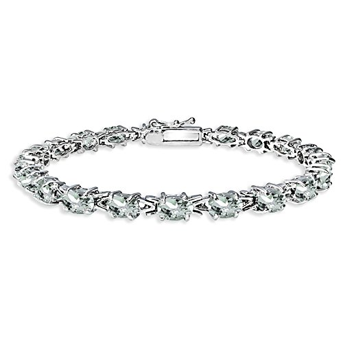 Sterling Silver Polished Genuine, Created or Simulated Gemstone 6x4mm Oval-cut Link Tennis Bracelet