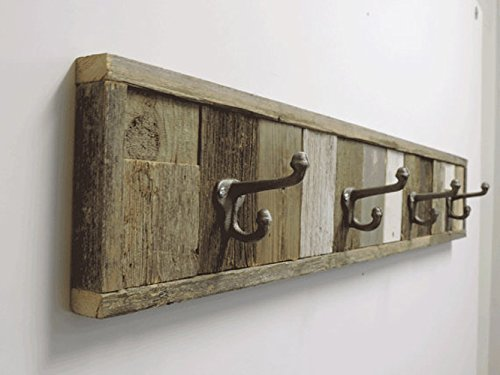 Custom Reclaimed Barn Wood Towel Rack 4 Hooks 37.5 inches, Rustic Barnwood Beach Cottage Wall Mounted Towel Hook Rack. Decorative Wooden Multi Bath hanger, Bathroom sets. Country Farmhouse