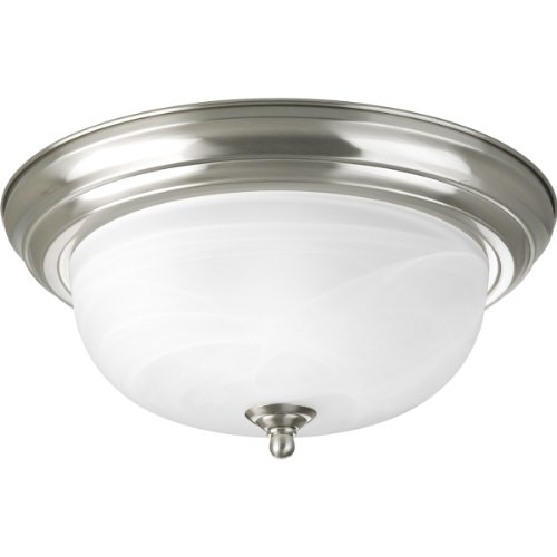 Ceiling Mount Progress Lighting Fixtures (Progress Lighting P3925-09 Two Light Flush Mount, Brushed Nickel Finish with Etched Alabaster Glass)
