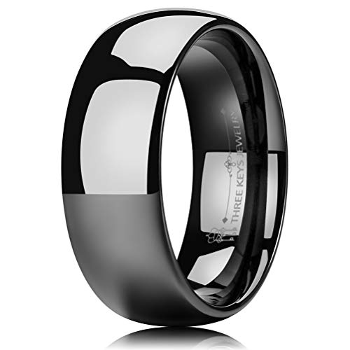 8mm Black Tungsten Wedding Band - THREE KEYS JEWELRY 8mm Tungsten Carbide Wedding Ring Black Women's Wedding Band Engagement Band Comfort Fit High Polished Classy Domed Size 10