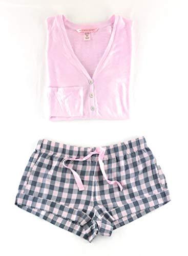 Victoria's Secret Henley Flannel Short Pajama Set X-Large Gray Check/Pink