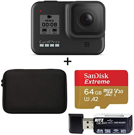 GoPro Hero 8 Black Action Camera with Accessory Bundle – Sandisk 64GB MicroSD, Memory Card Reader and Carrying Case