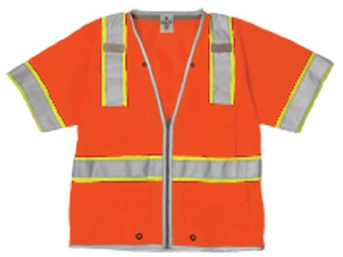 ML Kishigo 1551 Ultra-Cool Polyester Mesh Brilliant Series Heavy Duty Vest, Large, Orange