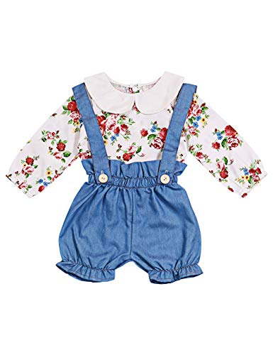 Toddler Baby Girl Clothes Floral Doll Collar Top and Bloomer Suspender Denim Shorts Set Outfit 12-18 Months