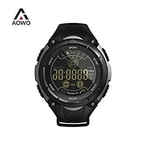 AOWO X7 Sports Smart Watch AOWO X7 Sports Smart Watch Men Digital Bluetooth Smart Watch IP68 Waterproof 5ATM Call SMS Notification Sport Smartwatch with LED Backlight for Android IOS iPhone (Black)