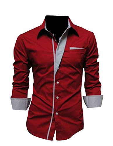 (Gocgt Mens Dress Shirt Cotton Slim Fit Casual Button Down Shirts Red)
