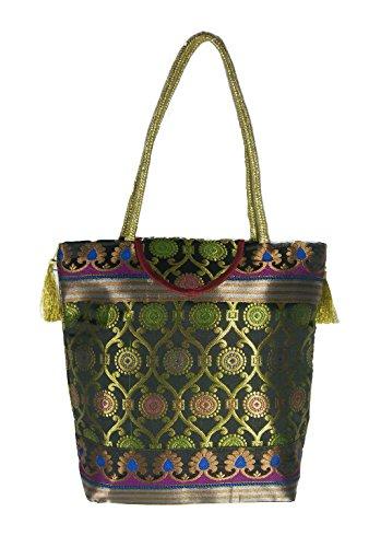 Ladies Big Bag Shoulder Brocade Black Handbag Traditional Handmade Ethnic for Women Silk 0SqTvAx